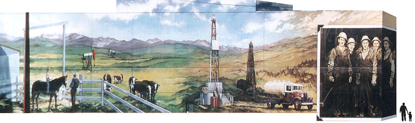 historical mural painting of oil and gas industry in downtown Calgary
