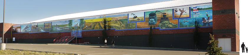 irrigation and agriculture themed mural by artist Doug Driediger for Brooks