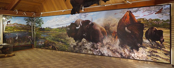 Stampeding Bison mural by artist Doug Driediger for Elk Island National Park
