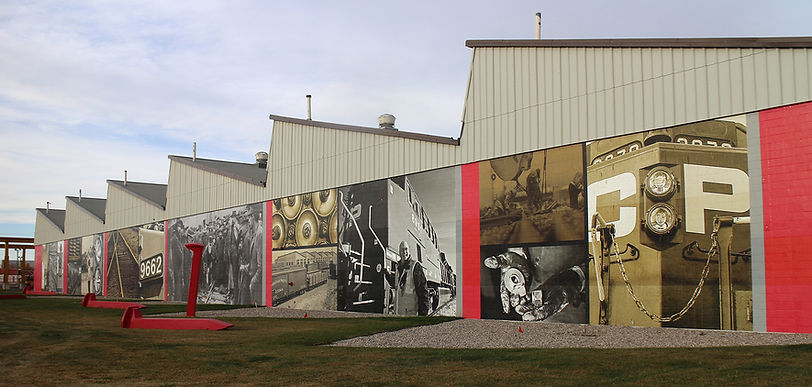 historical photo montage mural for Canadian Pacific in Calgary