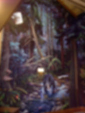 Rainforest mural by artist Doug Driediger for Kwisitis Visitor Centre, Pacific Rim National Park