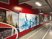 Mural painting and historical photo collage for Red Deer Servus Arena
