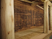 Longhouse mural by artist Doug Driediger for Kwisitis Visitor Centre, Pacific Rim National Park
