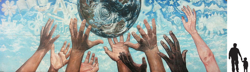 """""""Promise"""", children's hands reaching for globe with shaped clouds mural by artist Dough Driediger for Calgary School"""