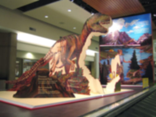 """Adventures in Learning"", Dimensional painted pop-up books promoting Alberta Parks and Parks Canada at Calgary airport"