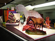 """Adventures in Learning"" Detail, Dimensional painted pop-up books promoting Alberta Parks and Parks Canada"