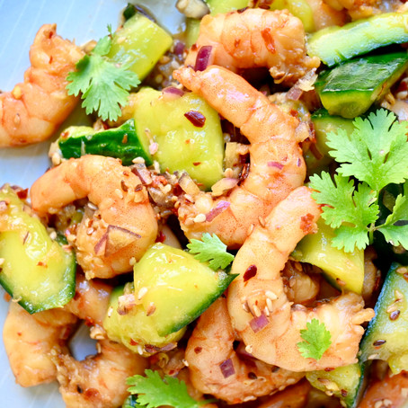 Asian inspired Spicy Smashed Cucumber & Shrimp Salad