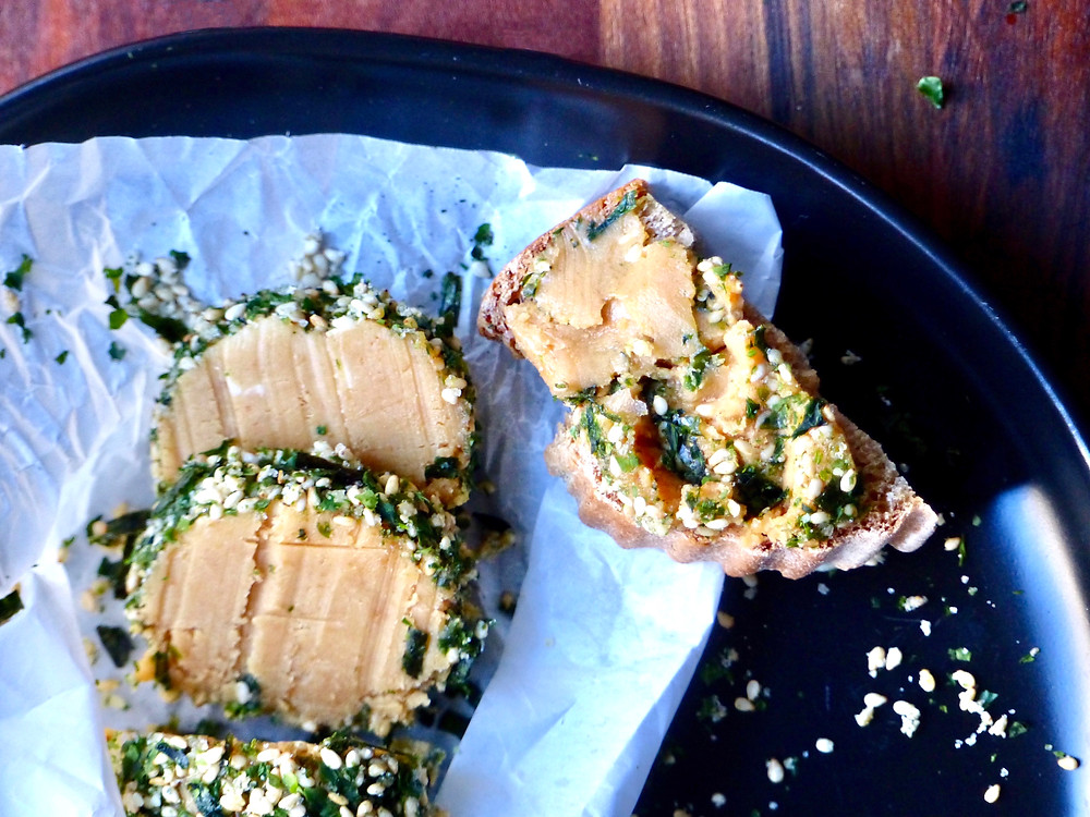 Compound butter with miso and flaky sea salt, coated in furikake seasoning