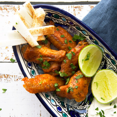 Baked Chicken Wings with Cilantro Lime Ranch Dressing