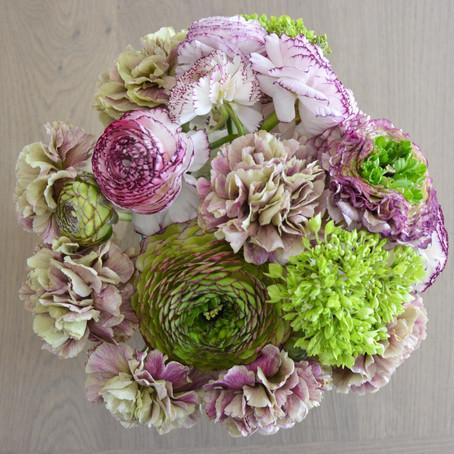 Viburnum, Carnations & Ranunculi, oh my!
