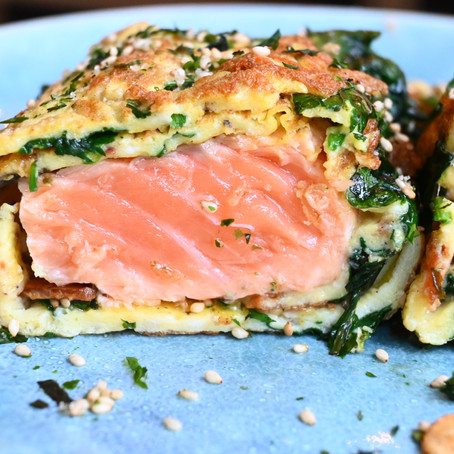 Wrapped Spinach & Salmon Omelette