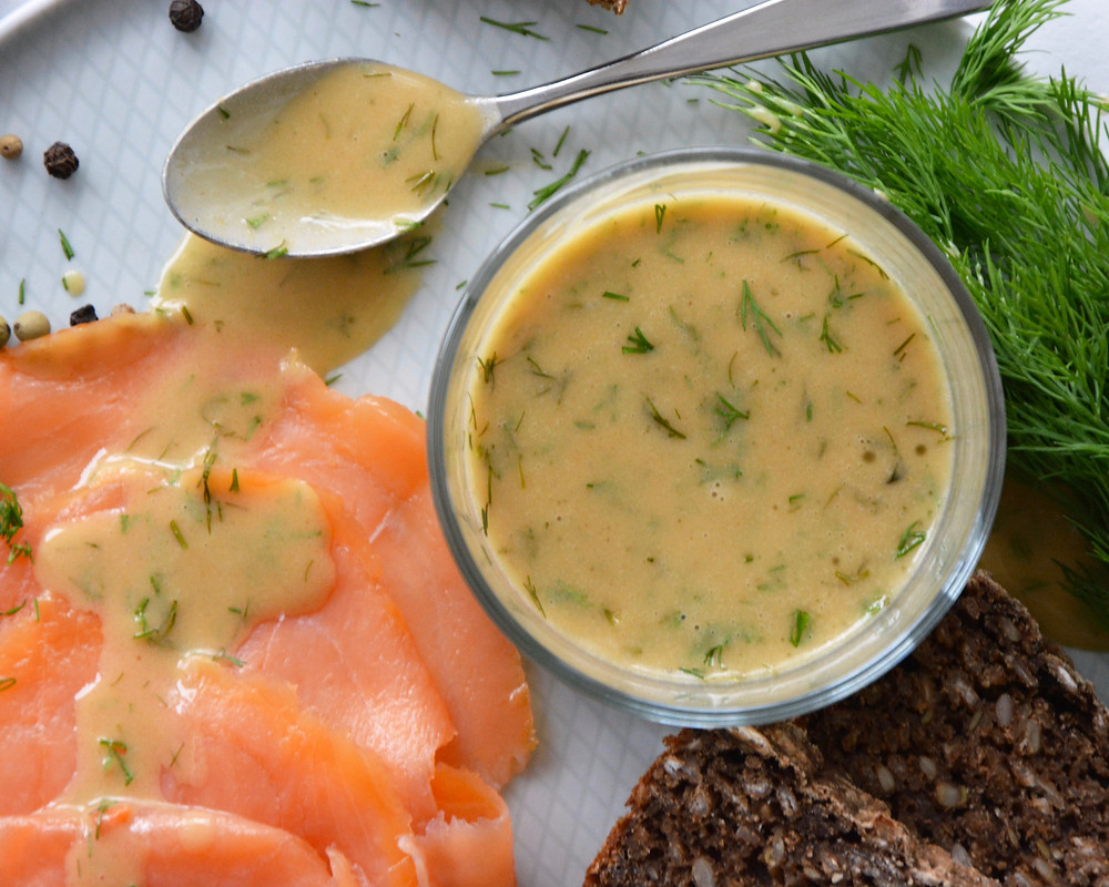 Mustard dill sauce served with smoked salmon and Danish rye bread.