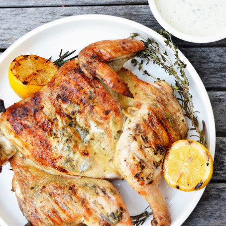Grilled Butterflied Chicken with Herbed Buttermilk Dressing
