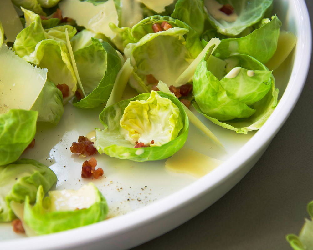 Brussels Sprouts Salad with a creamy Caesar Dressing and Pancetta