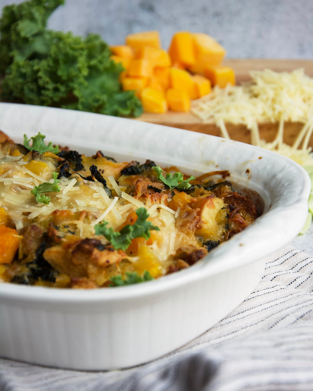 The perfect side for your holiday table. A hearty stuffing with all the essential elements, sausage, butternut squash, kale, leeks and of course, bread!