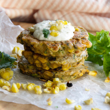 Corn & Zucchini Fritters with Lime & Herb Sour Cream