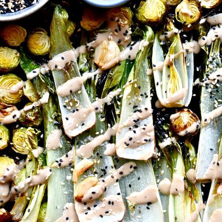 Roasted Veggies with Anchovy & Tahini Crema