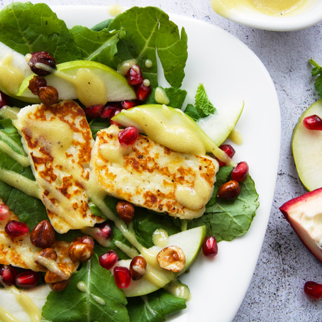 Halloumi, Pomegranate & Pear Salad