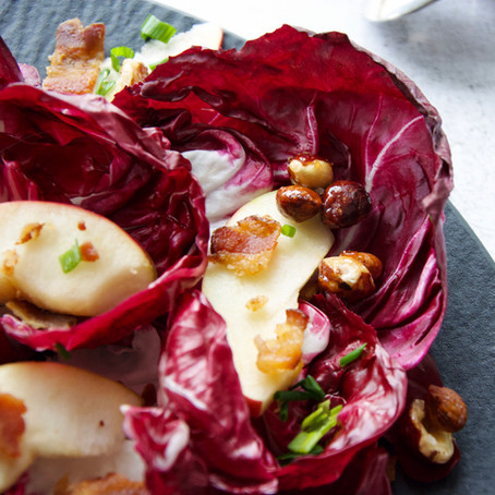 Radicchio, Bacon & Apple Salad with Apple Dijon Vinaigrette and Caramelized Hazelnuts