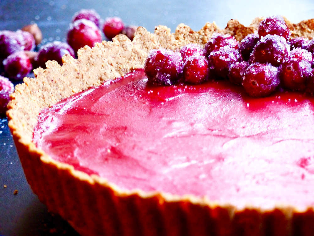 Cranberry Curd Tart with a gluten free hazelnut crust