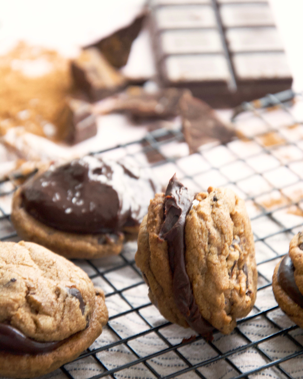 Coffee Chocolate Chip Cookie with Salted Caramel Chocolate Ganache