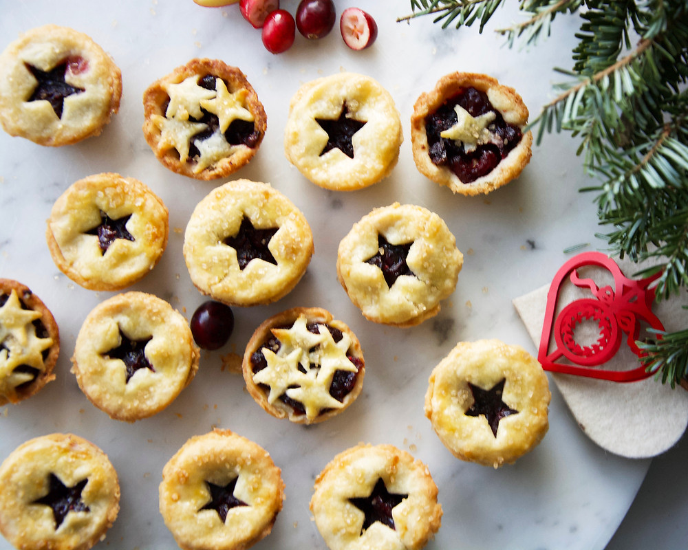 Star topped Mince Pies with Cranberry Apple filling.