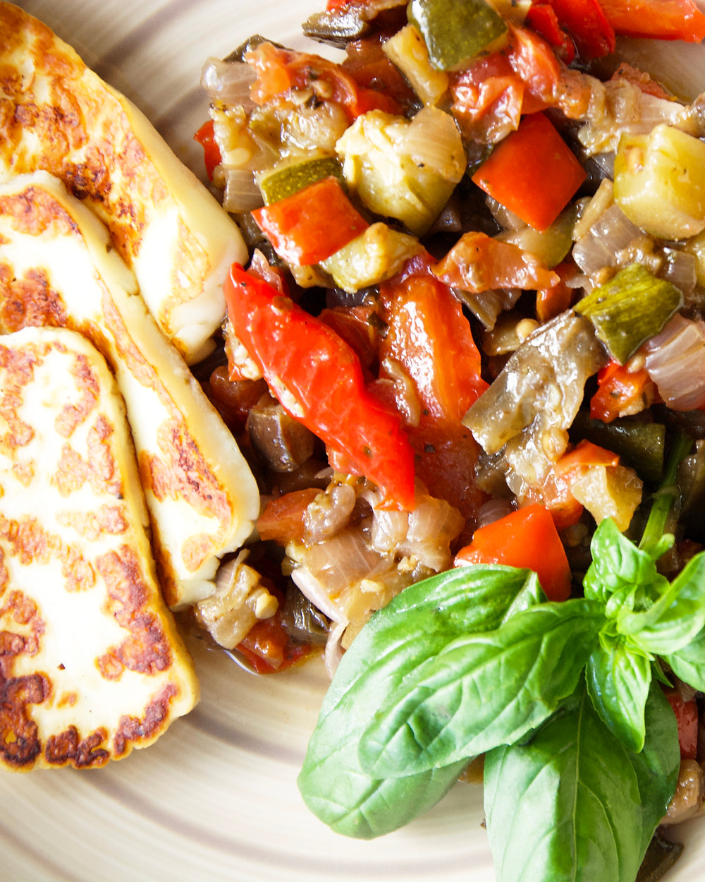 The final product. Oven Baked Ratatouille with a side of griddled halloumi cheese.