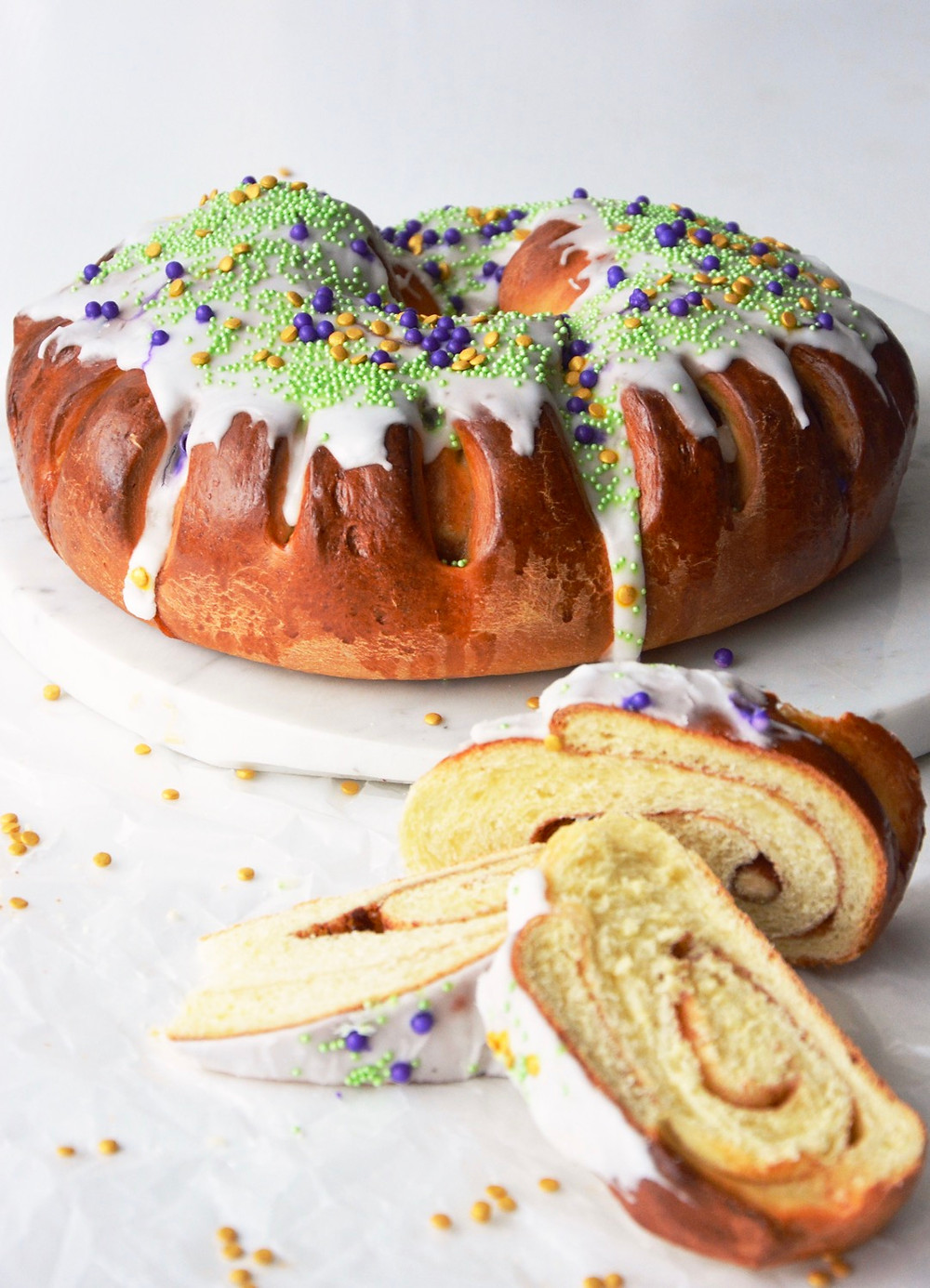 New Orleans style King Cake with a cinnamon swirl