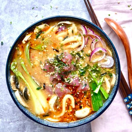 Miso Tuna Udon Noodle Bowl