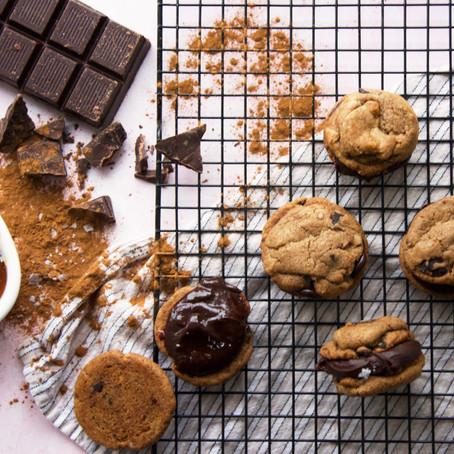 Coffee Chocolate Chip Cookies with Salted Caramel Chocolate Ganache