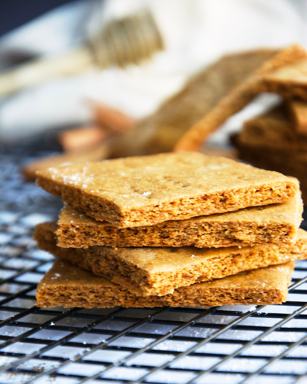 A stack of homemade Graham Crackers