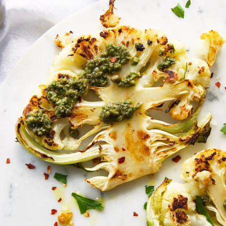 Roasted Cauliflower Steaks with Parsley-Caper Sauce