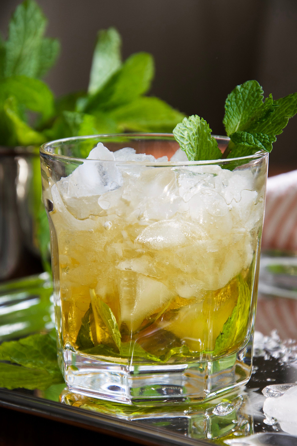 Close up of a Mint Julep in a tumbler filled with crushed ice and a sprig of mint.