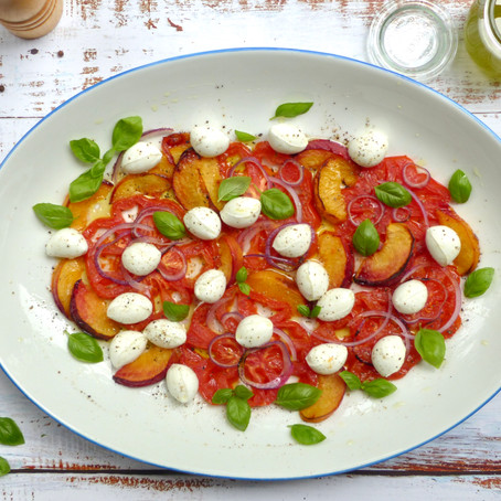 Roasted Peach, Heirloom Tomato and Mozzarella Salad with Basil Infused Olive Oil