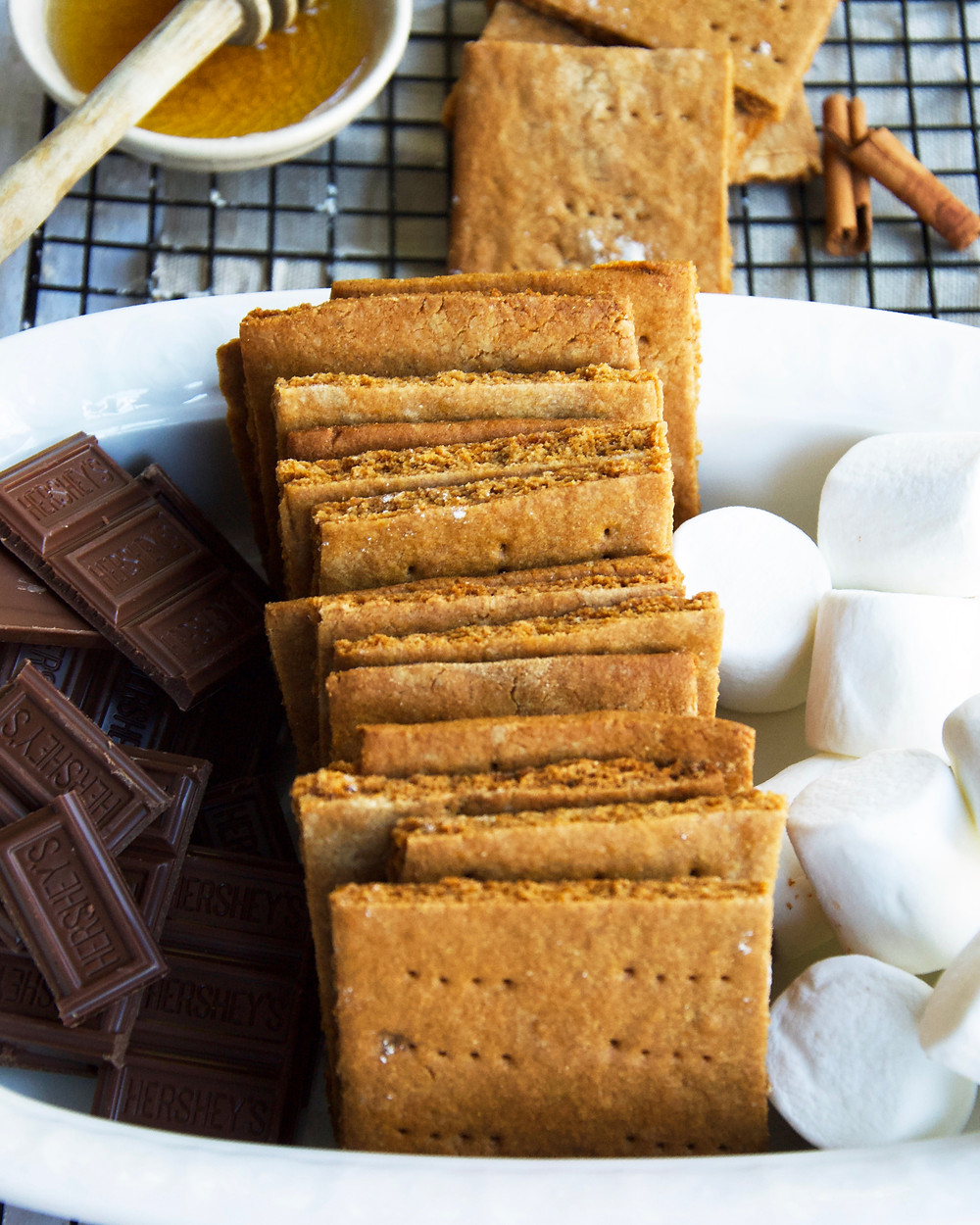 Ready for s'mores with homemade Graham Crackers, chocolate and marshmallows
