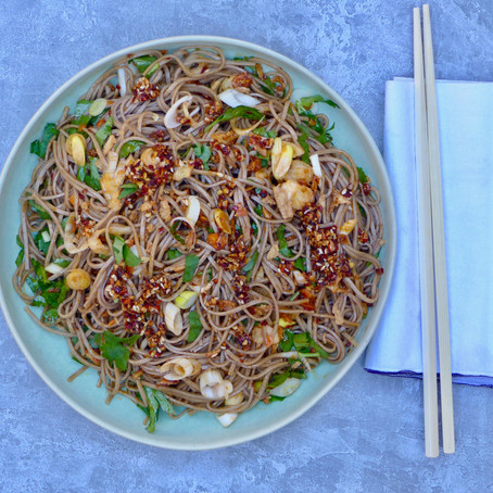 Chile Oil Noodles With Cilantro & Homemade Crispy Garlic Chile Oil