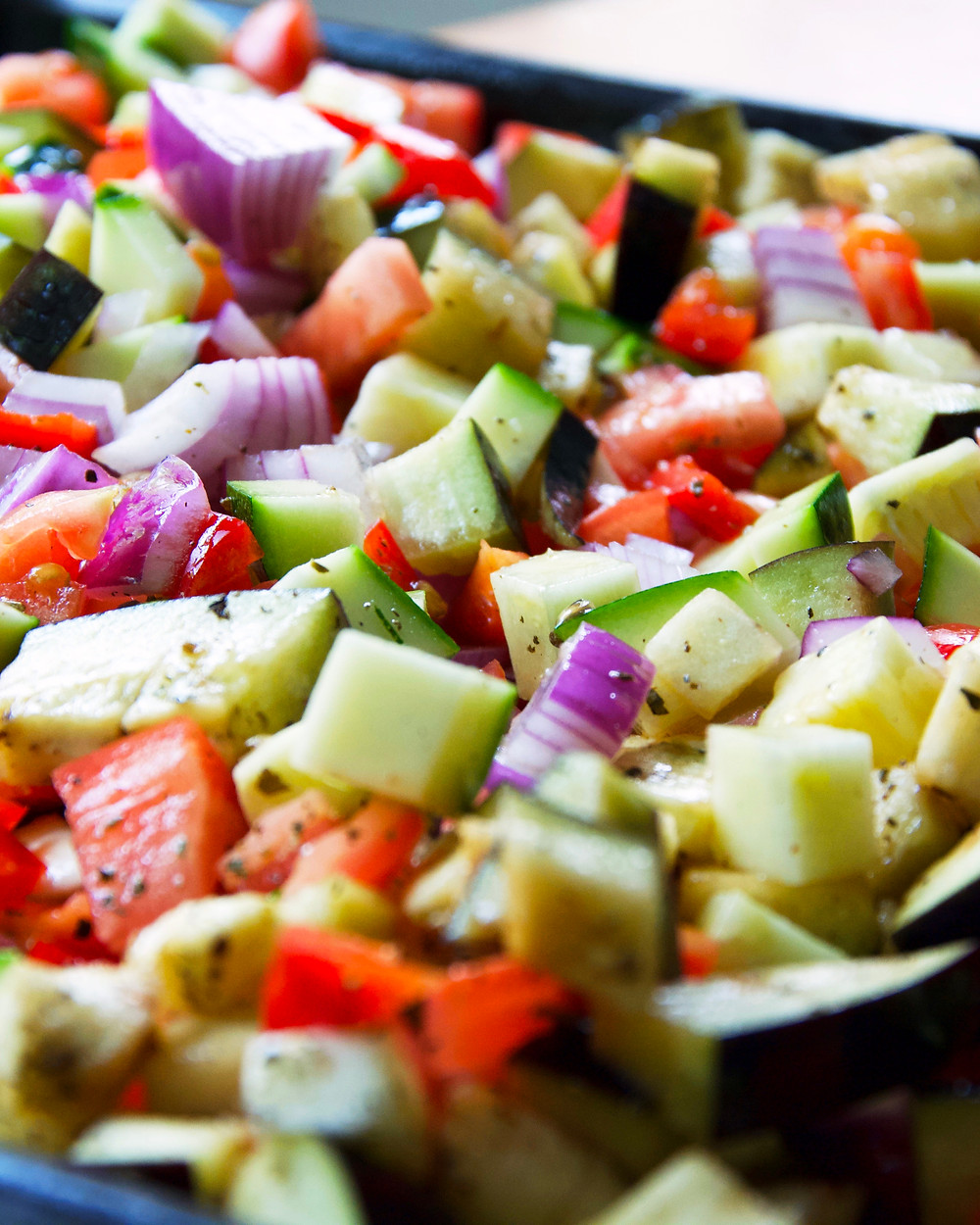 Chopped veggies ready to go in the oven.