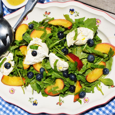 Summer Burrata Salad & Apple Cider Shallot Vinaigrette