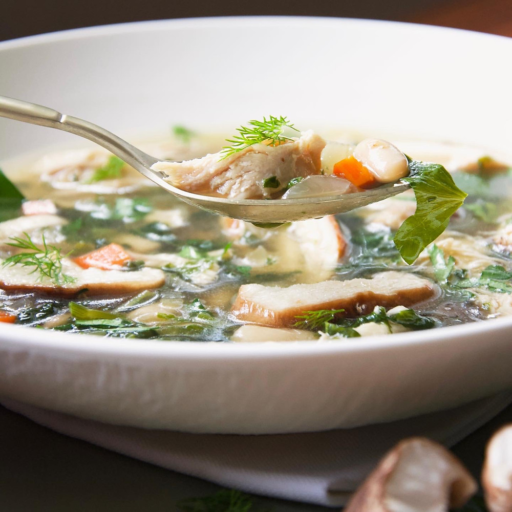 Close up of Detox Chicken Soup