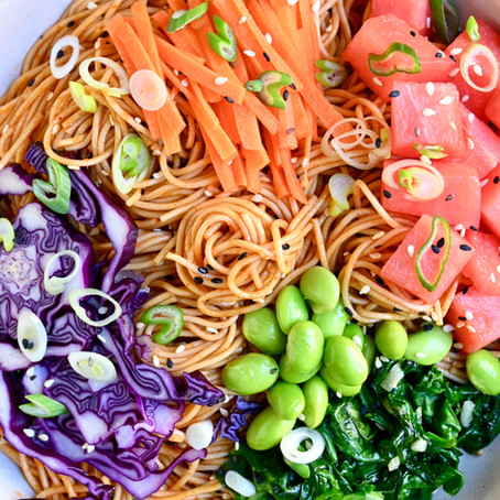 Cold Soba Noodle Gochujang Salad With Quick Pickled Carrots and Salty Watermelon