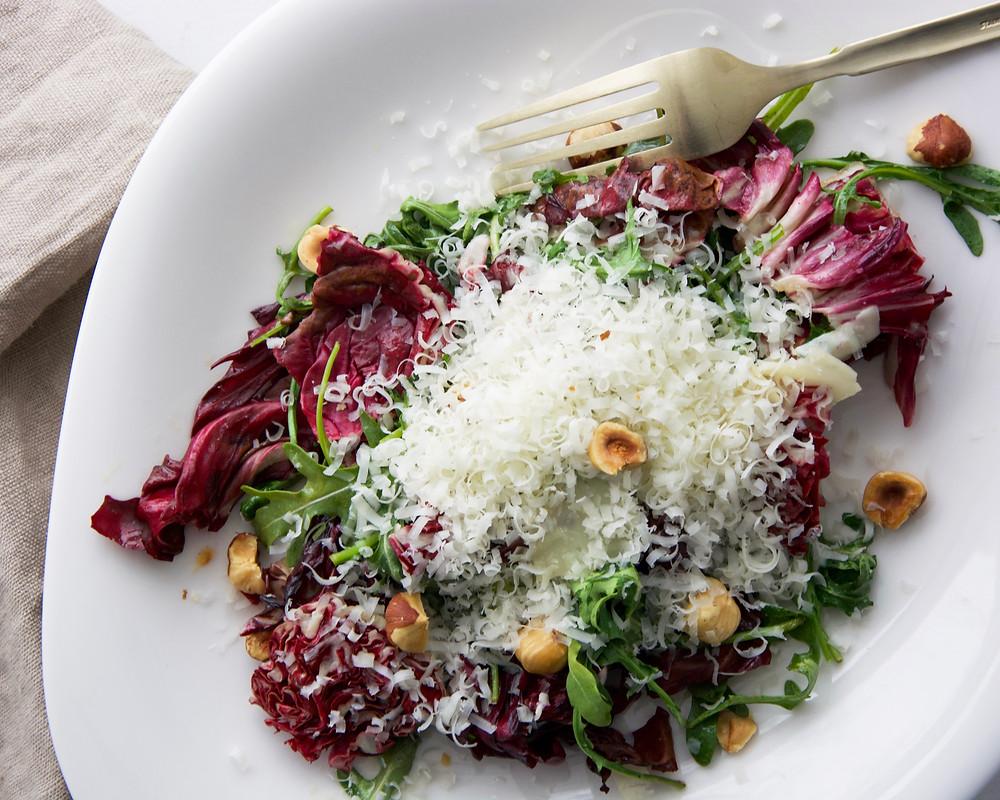 Grilled Radicchio Salad with hazelnuts and Pecorino Romano cheese
