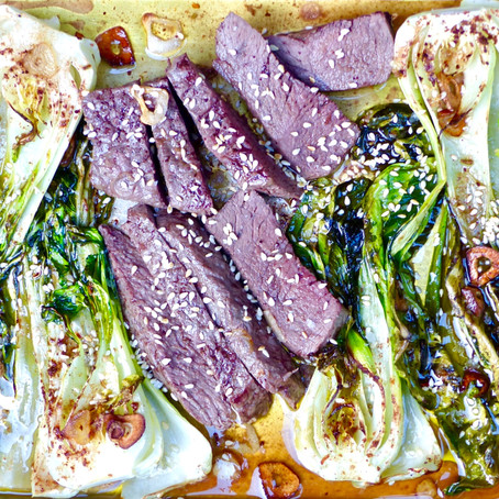 Chinese Five Spice Steak and Bok Choy Sheet Pan Dinner