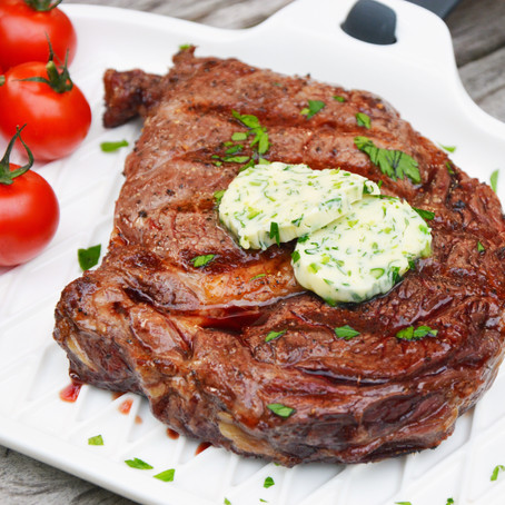 Rib Eye with Garlic Scape Butter
