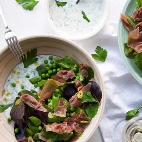 Pea & Prosciutto Salad with Herb Buttermilk Dressing