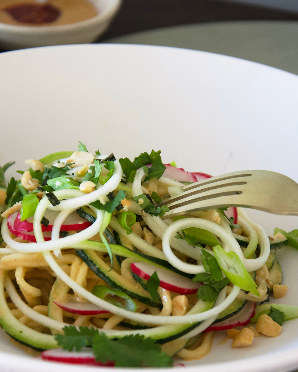 Zucchini Noodle Salad with Peanut Sauce Dressing