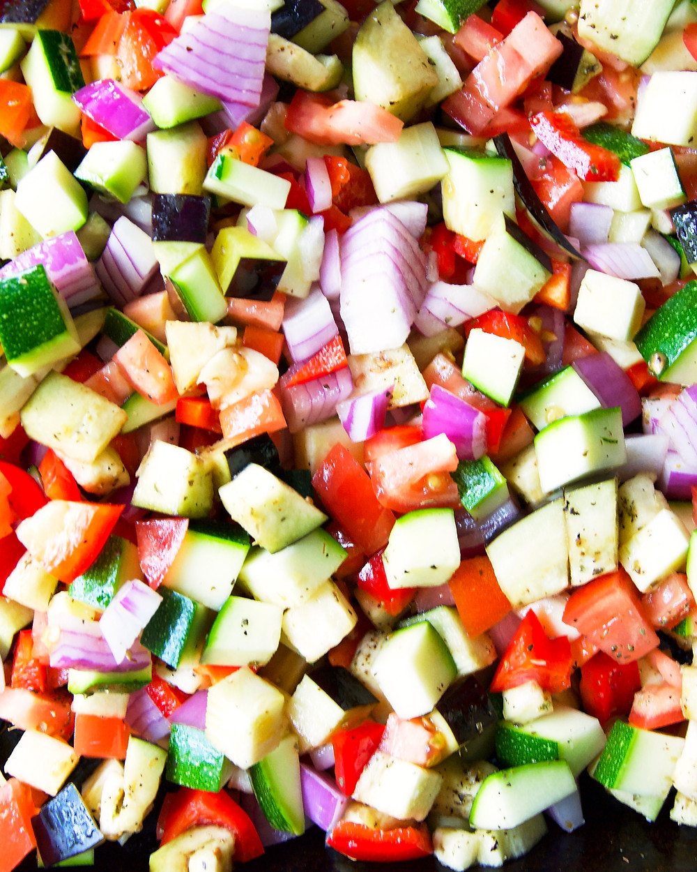 Chopped veggies are ready to go in the oven.