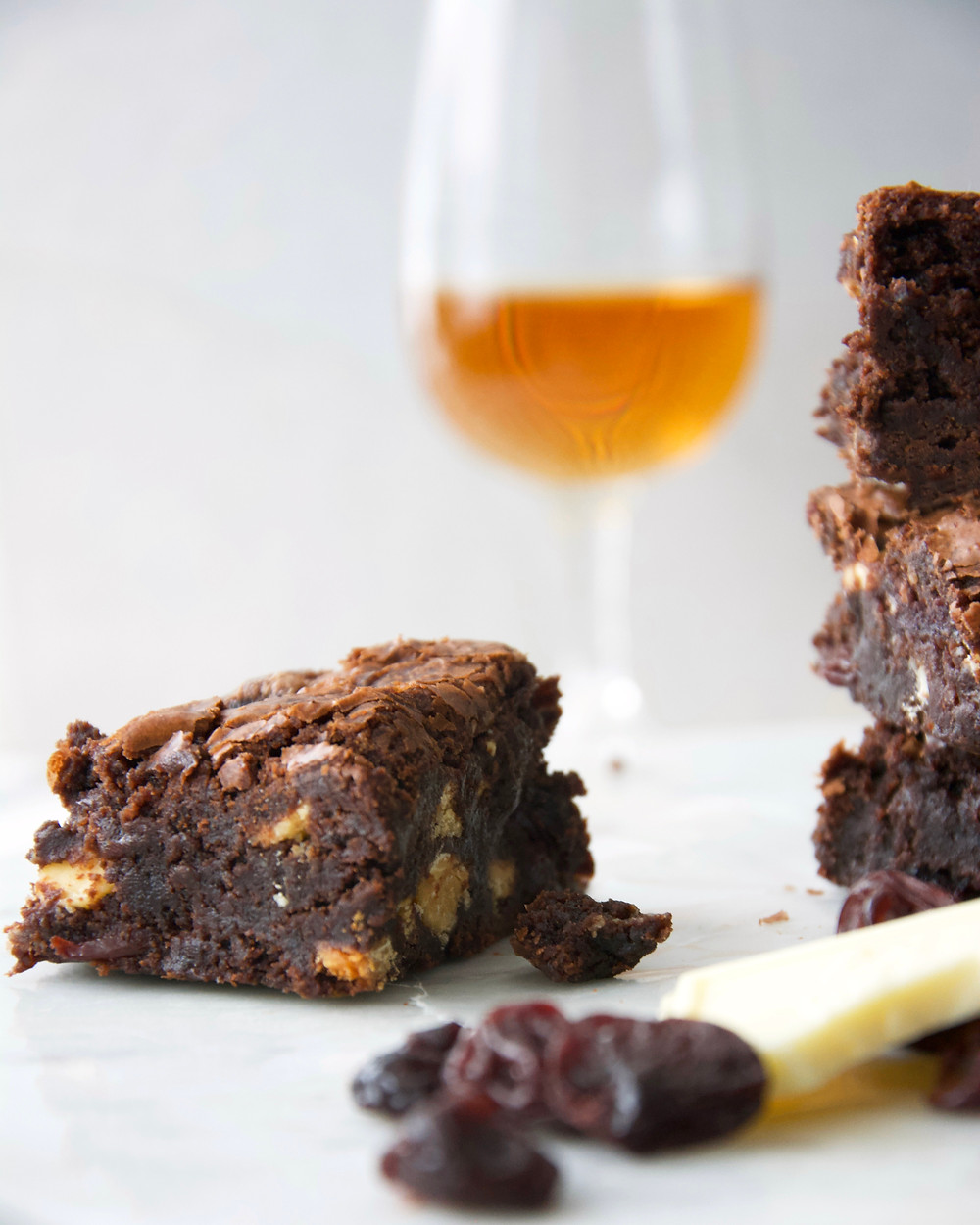 Bourbon soaked cherries with white chocolate in a fudge brownie.