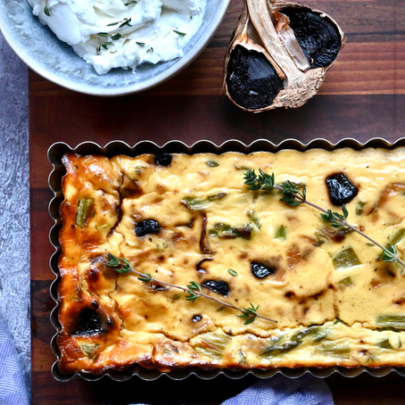 Black Garlic, Caramelized Onion, Asparagus & Goat Cheese Crustless Quiche