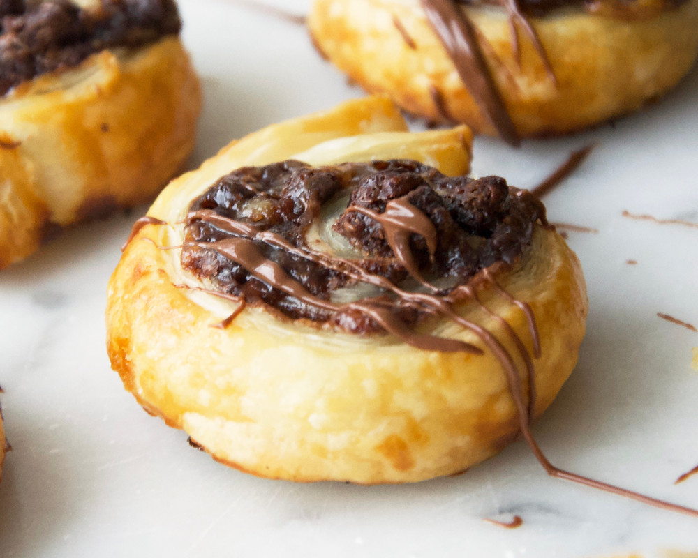 Close up of Mini Nutella Chocolate Chip Pastries