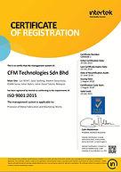 CFM Tecgnologies ISO 9001 2015 Intertek.